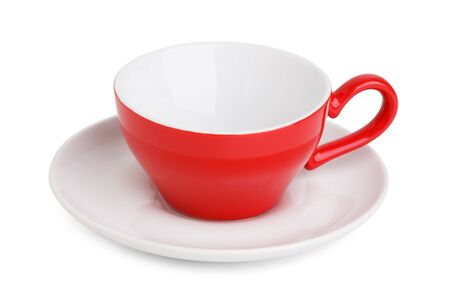 tipple: Empty red coffee cup on a saucer on a white background