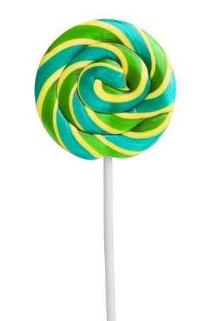 Delicious, sweet green and yellow lollipop on white background