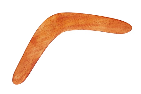 Boomerang bright brown color of wood on a white background