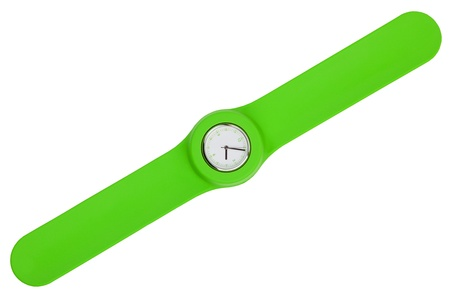 Stylish watch with a green plastic strap on a white background photo