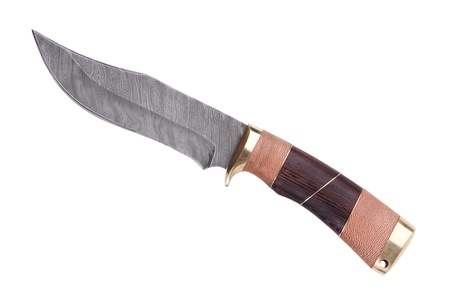 hardwearing: Knife with wooden handle made ??of Damascus steel on a white background