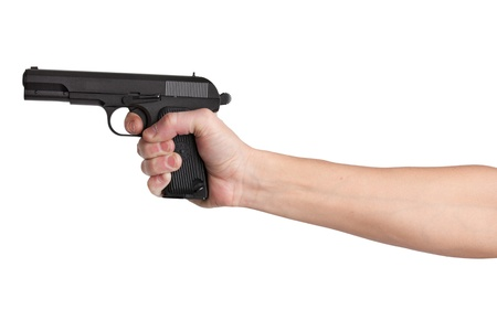 handbreadth: Gun in his outstretched hand of a man on  white background