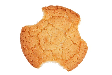 nip: Gnaw delicious shortbread round on a white background Stock Photo