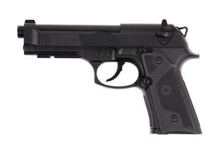 pistole: Pistola in metallo nero con il grilletto su uno sfondo bianco Archivio Fotografico