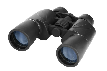 Binoculars in black plastic on a white background Stock Photo