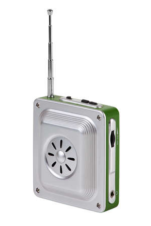 Small pocket radio with an antenna on a white background photo