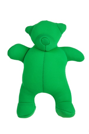 Rag teddy bear to relax on a white background photo