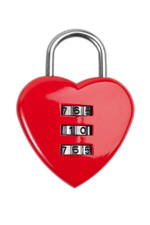 Combination lock with a red heart on  white background photo