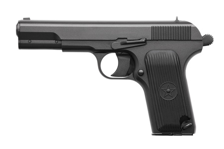 Pistol with a cocked on a white background