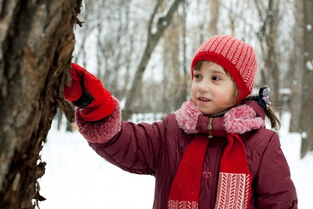 The little girl is considering a tree in the forest