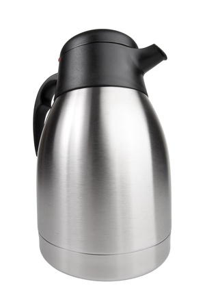 Kettle metal with black plastic handle Stock Photo