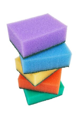 honeycombed: Sponges for washing dishes on a white background