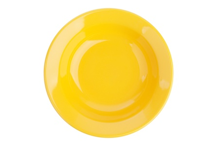 Yellow small ceramic dish on a white background