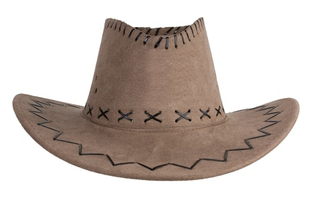 Brown cloth cowboy hat on a white background photo