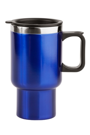 The blue cup with black handle on white background photo