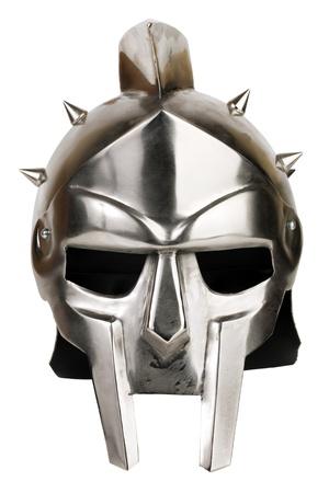 Iron Roman legionary helmet on white background Stock Photo