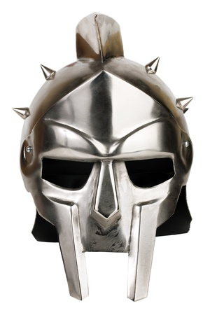 Iron Roman legionary helmet on white background Stock Photo