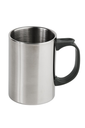 The metal cup with a plastic pen on  white background Stock Photo