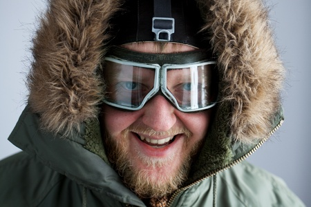 Polar pulled over in the face with glasses and a hood Stock Photo - 12199829