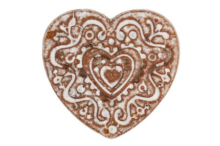 sulcus: Gingerbread in the shape of a heart on a white background
