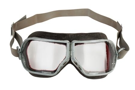 Vintage leather aviation glasses on white background