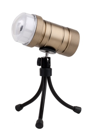 The original lantern on tripod over white background photo