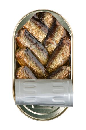 Tin with sprats on a white background photo