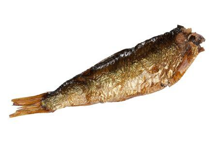 Small smoked sprats fish on a white background photo