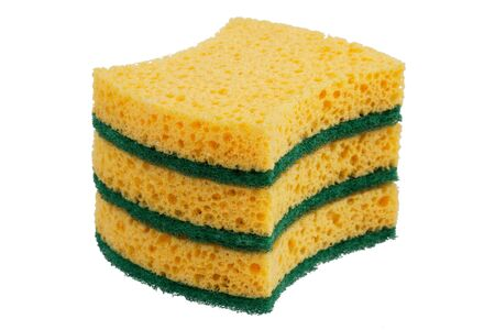 tweak: Stack of sponges for washing dishes on a white background Stock Photo