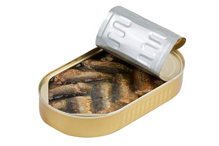 sprats: Ajar packaging with sprats on a white background