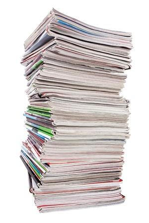 Lots of used magazines on white background