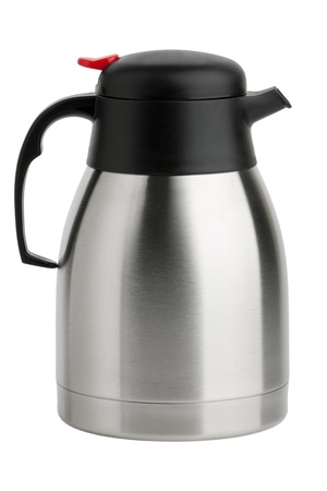 Metal Kettle with spout on a white background photo