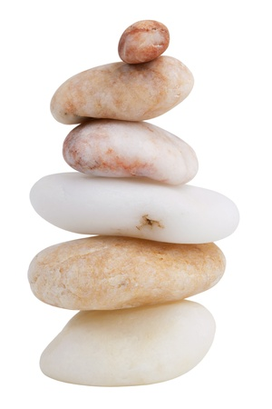 Stack of different smooth river stones on a white background photo