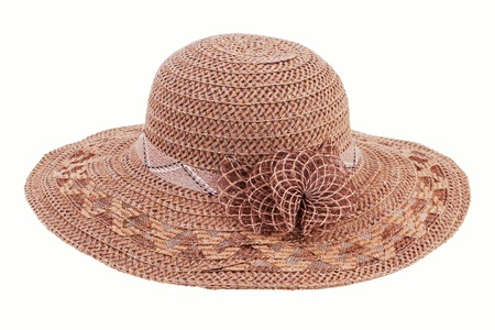 Brown wicker bonnet on a white background Stock Photo