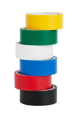 Coils colored tape on a white background Stock Photo