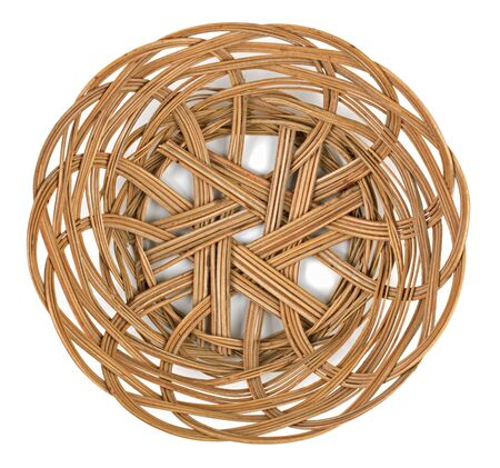 Wicker brown basket of bread or fruit on a white background Stock Photo - 12544203