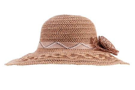 metier: Wicker beige hat lady on a white background