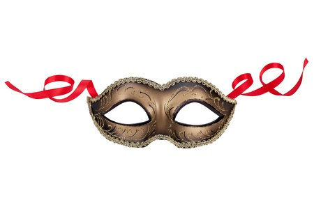 Decorative carnival mask black and gold on a white background photo