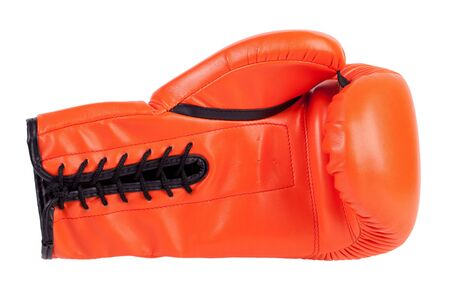 knockdown: Laced boxing glove on a white background Stock Photo
