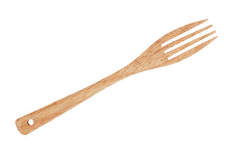 tine: Fork made of wood on a white background