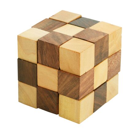 Puzzle in the form of wooden blocks on a white background photo