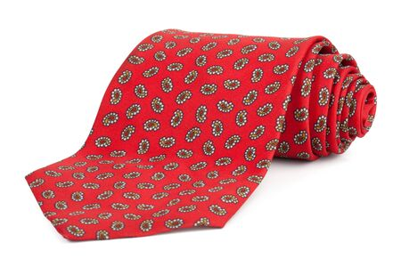 neckcloth: Rolled red tie on a white background