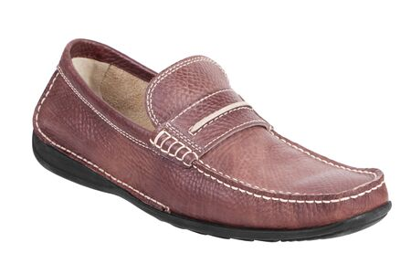outsole: Dark brown leather moccasin on a white background