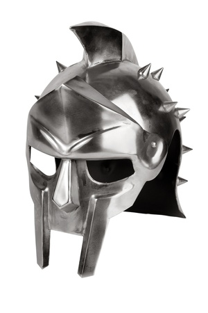 Imitation of Roman legionary helmet on a white background Stock Photo