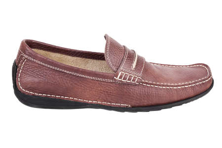 moccasin: Brown leather moccasin on a white background