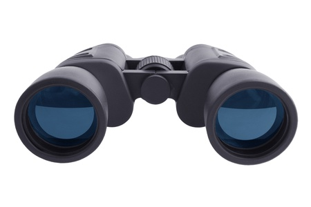 oversee: Military telescopic binoculars on a white background