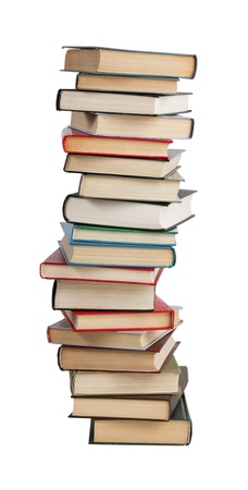 The high stack of books on a white background