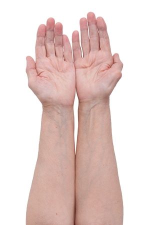 tendons: Palm of an elderly man on a white background