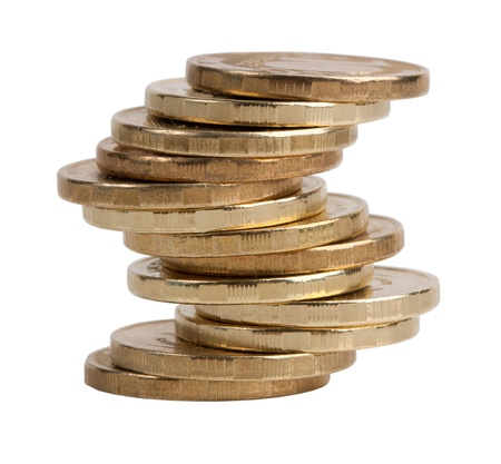 equipoise: Small pile of copper coins on a white background Stock Photo