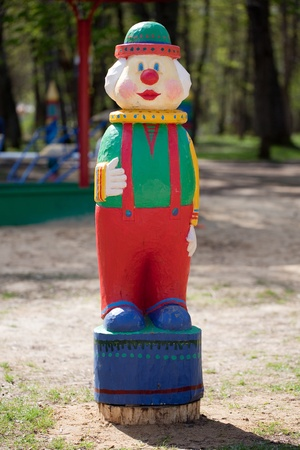 metier: Figurine of a clown, standing on the playground Stock Photo